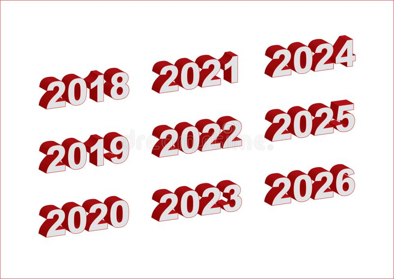 Years 2018 - 2026 in white and red digits, 3D extruded - Vector royalty free illustration
