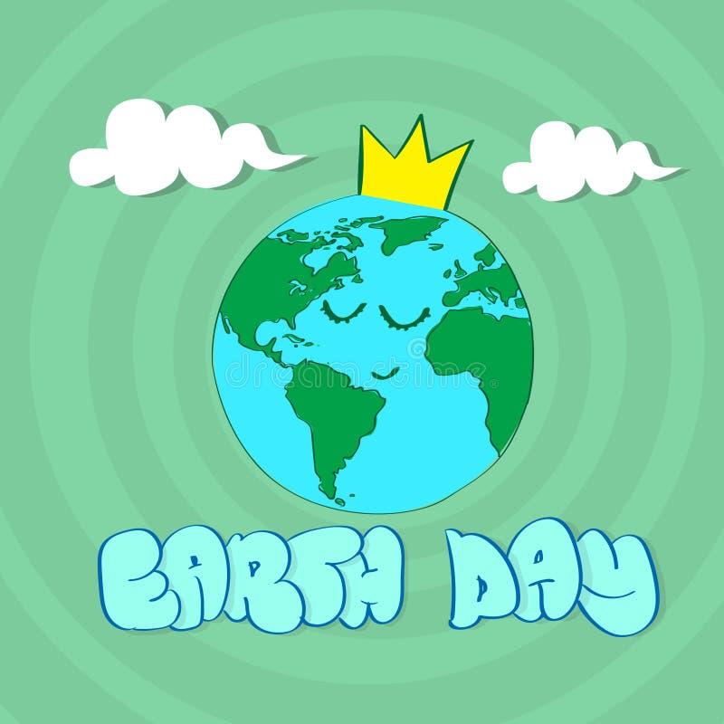 Yeas de la cara del globo del mundo del Día de la Tierra ilustración del vector