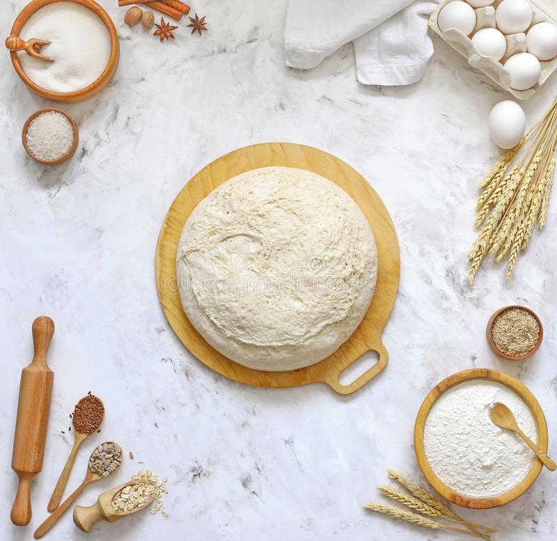Yeast dough for bread, pizza, pie, top view stock images