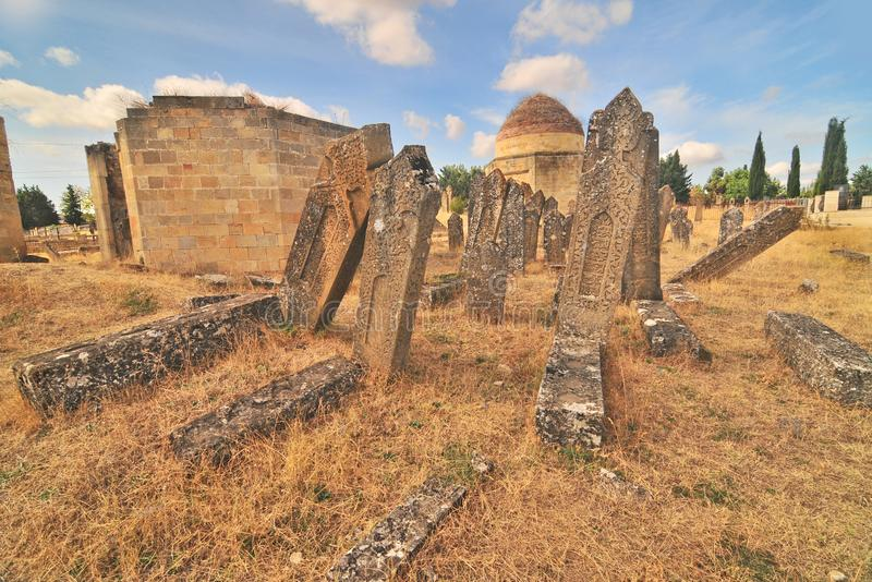 Yeddi Gumbaz mausoleum. – a cemetery located 1,5 km south to Şamaxı built for a family of Mustafa khan – the royalty free stock image