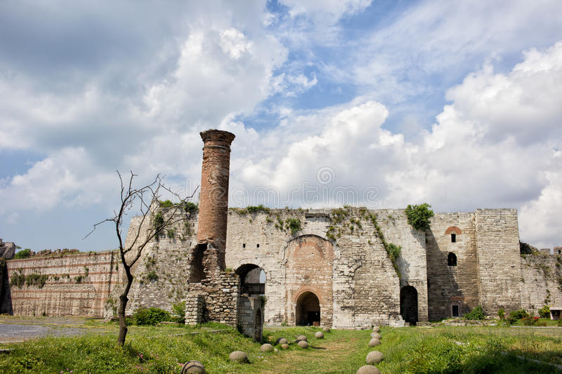 Yedikule Castle in Istanbul. Yedikule Castle Byzantine architecture and ruins of a mosque in Istanbul, Turkey stock images
