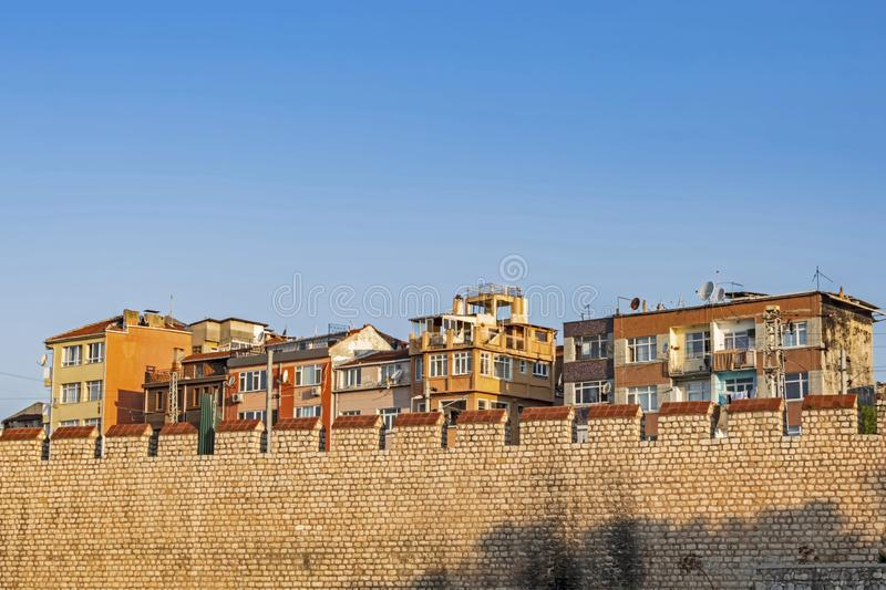 .istanbul old houses and historic city walls in Yedikule royalty free stock photography