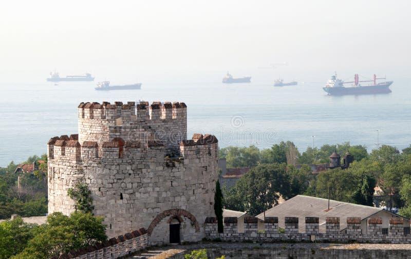 Yedikule Zindanlari,伊斯坦布尔,土耳其墙壁  图库摄影