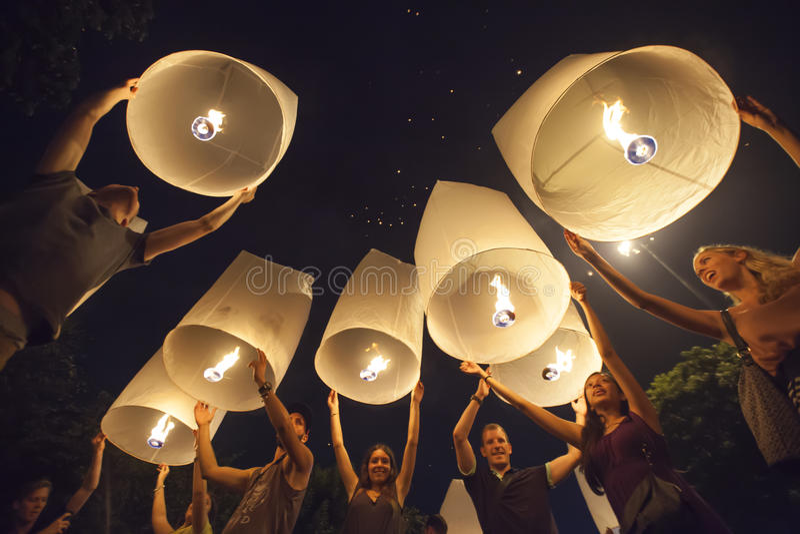 Yee Peng Festival em Chiang Mai, Tailândia fotos de stock