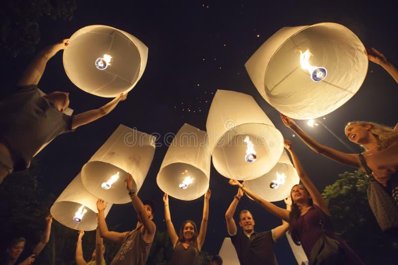 Yee Peng Festival en Chiang Mai, Tailandia fotos de archivo