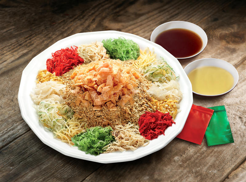 Yee Sang, a Chinese new year celebration dish stock photography