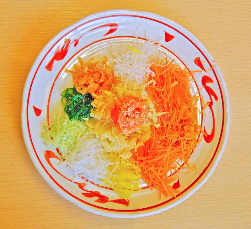 Yee Sang in a Japanese Restaurant royalty free stock images