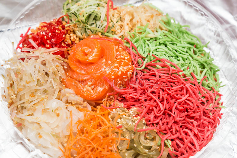 Yee Sang or Yusheng, traditional Chinese New Year prosperity del royalty free stock photography