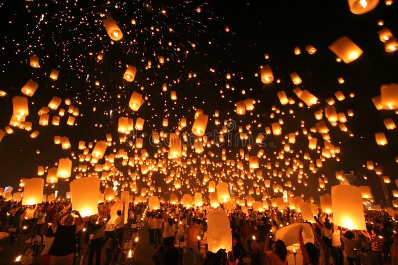 Yeepeng tradicional en la noche fotografía de archivo libre de regalías
