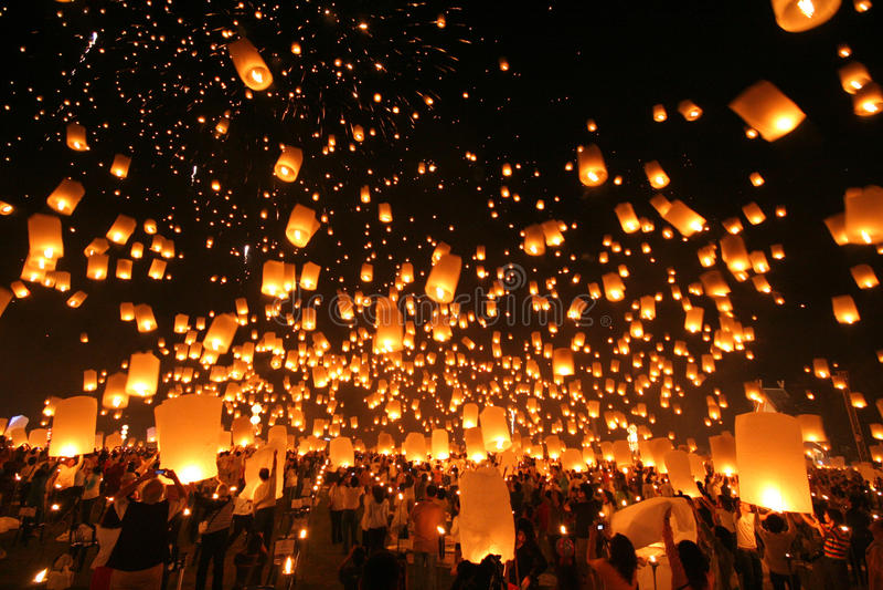 Yeepeng traditionnel la nuit photographie stock libre de droits