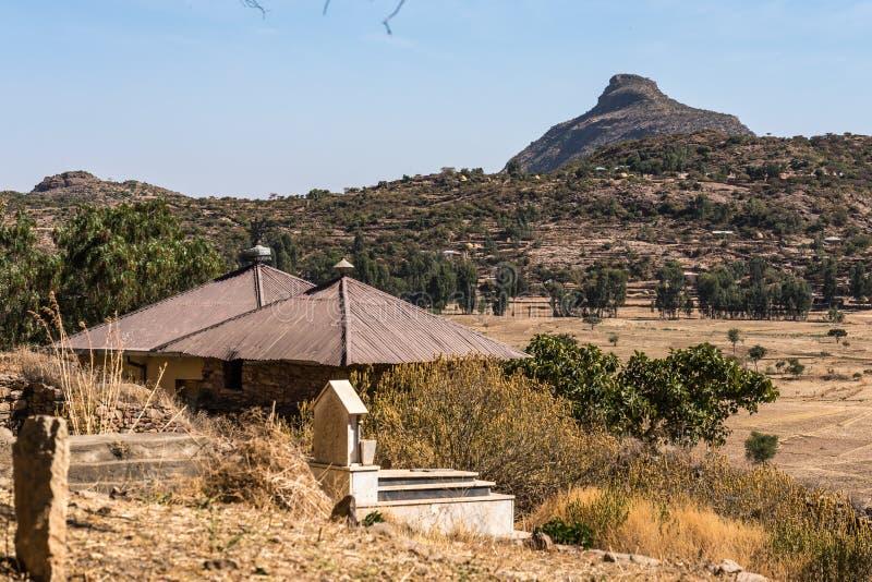 Yeha寺庙的废墟在Yeha,埃塞俄比亚,非洲 免版税图库摄影