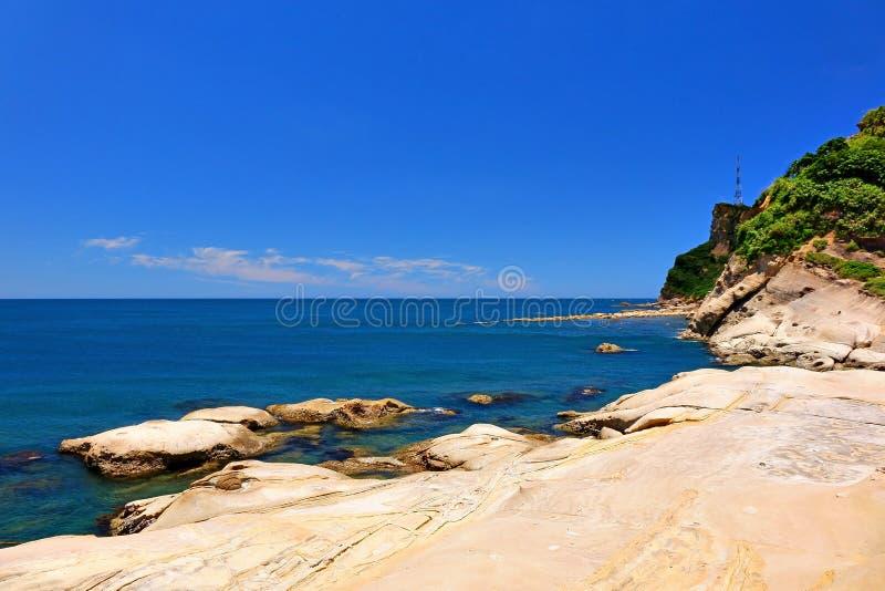 Yehliu Geopark. Seascape of the Yehliu Geopark royalty free stock image