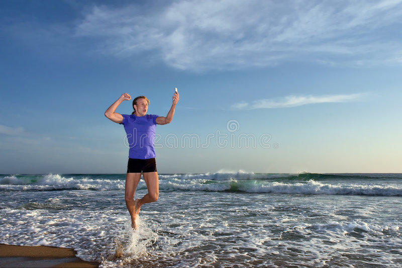 Yehooo!  - Happy Young Man Shouts Stock Photography