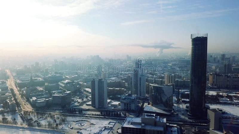 Yekaterinburg city, city center view, Ekaterinburg, Urals, Russia. Top view of the modern city with skyscrapers in. Winter stock images