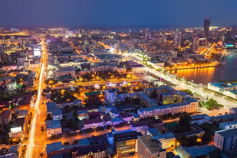 Yekaterinburg luchtpanorama royalty-vrije stock afbeelding