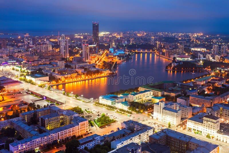 Yekaterinburg powietrzny panoramiczny widok fotografia stock