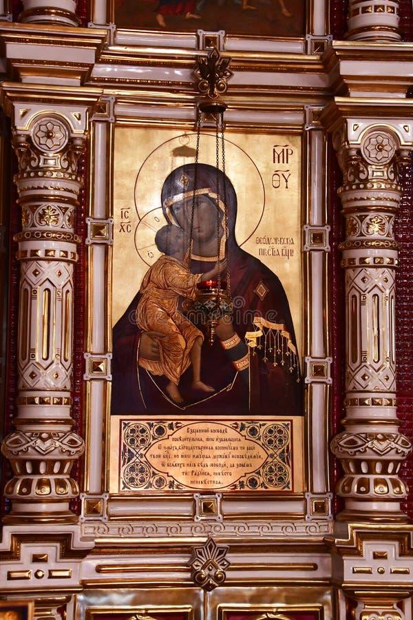 YEKATERINBURG, RUSLAND, 25 November, 2018 Theodorus II-pictogram van de Moeder van God in de Kerk op Bloed in naam van alle Heili stock afbeeldingen