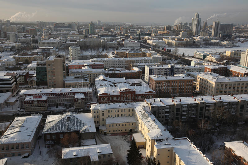 Yekaterinburg, Russia. YEKATERINBURG, RUSSIA - JANUARY 5, 2011: Panoramic view of the historical centre of Yekaterinburg, Russia, pictured from the viewing stock photography