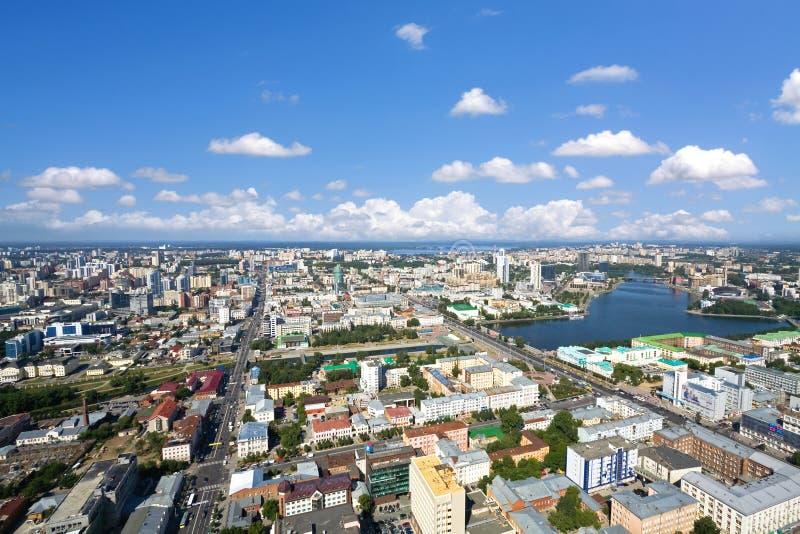 Yekaterinburg stadsmitt, flyg- sikt arkivfoto