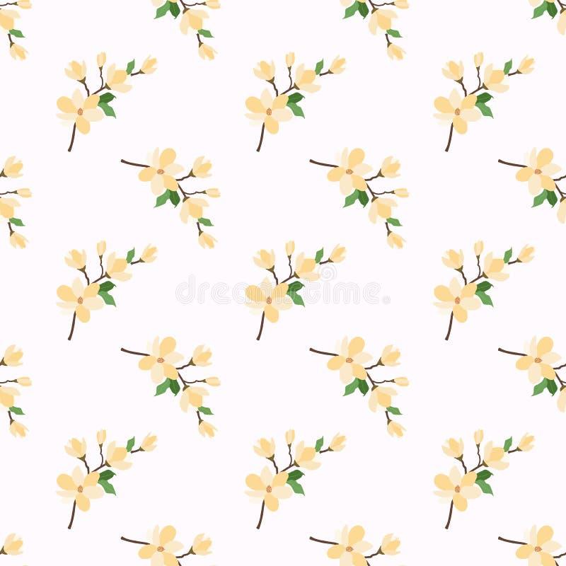 Yel botánico colorido inconsútil de la planta de la hoja de la flor de la imagen de fondo ilustración del vector