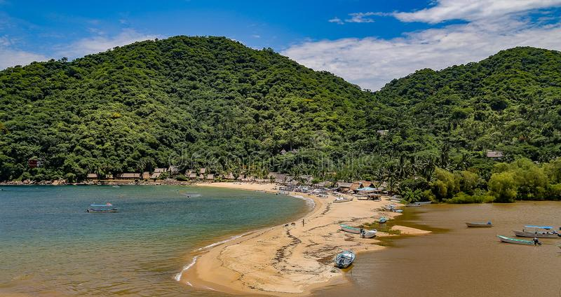 Yelapa Bay In Mexico With Boats In Harbour stock images