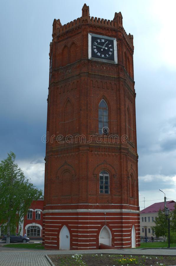YELETS / LIPETSK, RUSSIA - MAY 08, 2017: old water tower with clock 1872. One of the main attraction stock photography