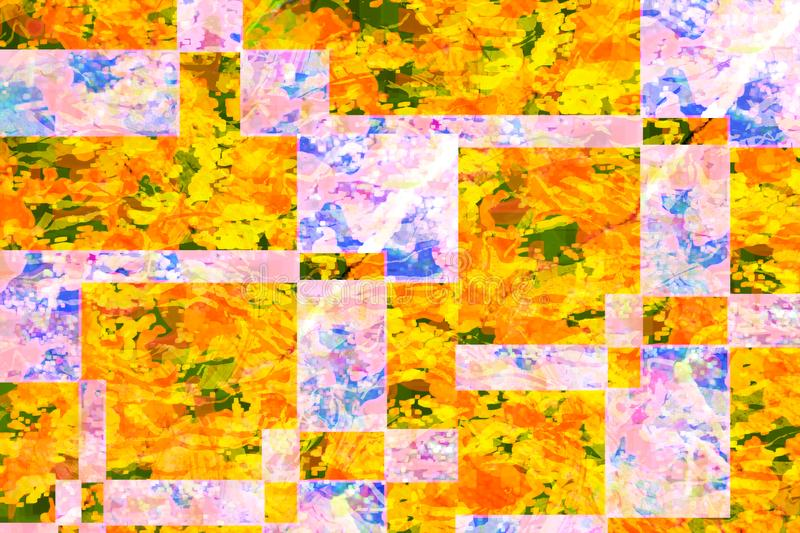 Yellow and purple abstract geometric  shape background royalty free illustration