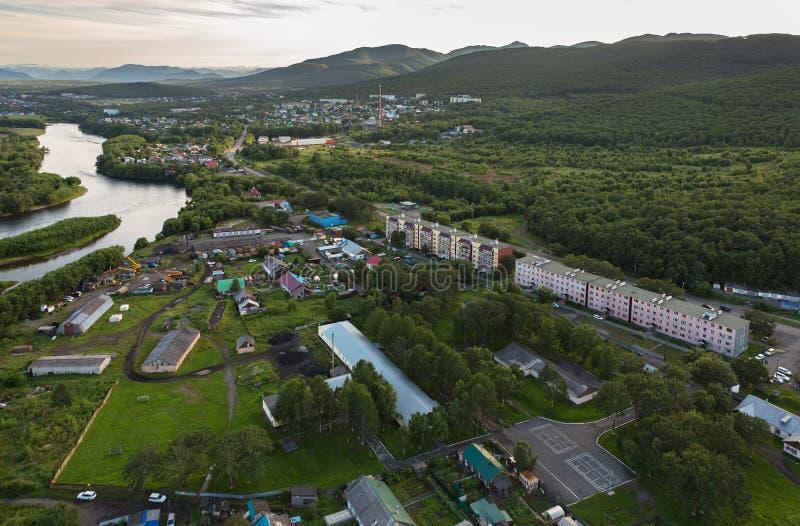 Yelizovo stad på den Kamchatka halvön arkivbilder