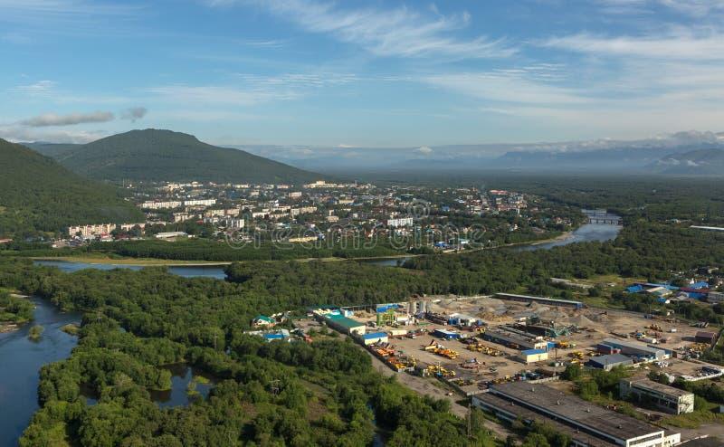 Yelizovo stad på den Kamchatka halvön arkivbild