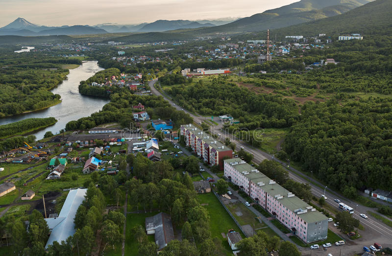 Yelizovo town on Kamchatka Peninsula. View from helicopter royalty free stock images