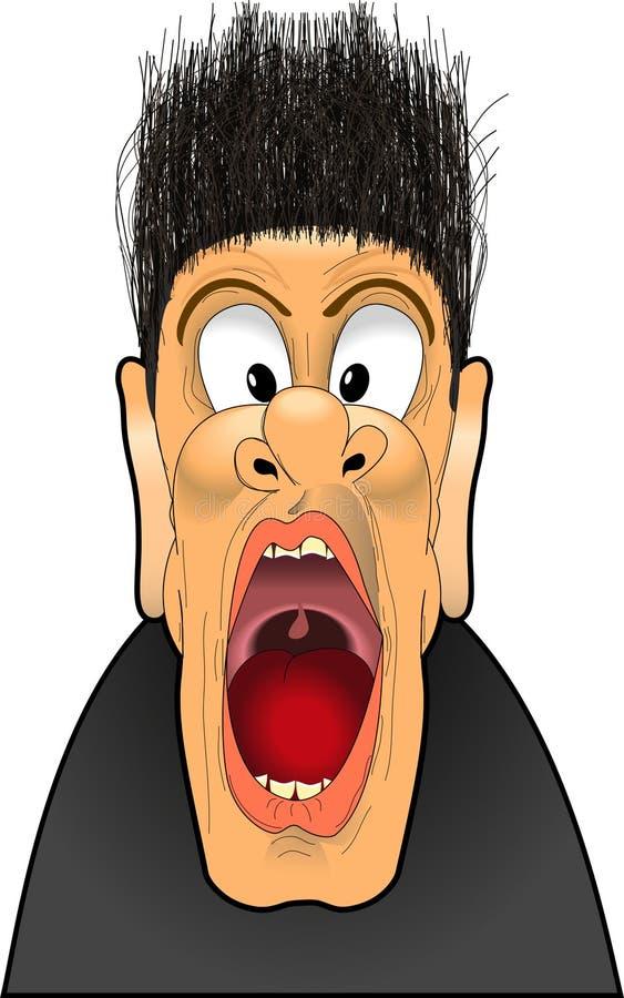 Yell_scream_02. Raster cartoon graphic depicting a man screaming royalty free illustration