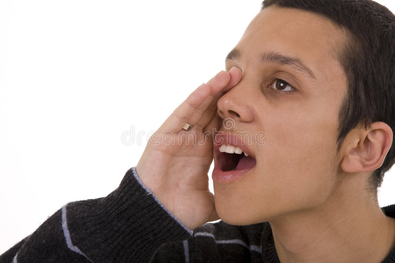 Yelling. Close-up of an young man yelling royalty free stock photography