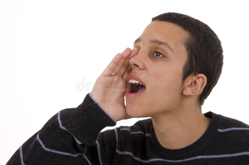 Yelling. Close-up of an young man yelling royalty free stock images