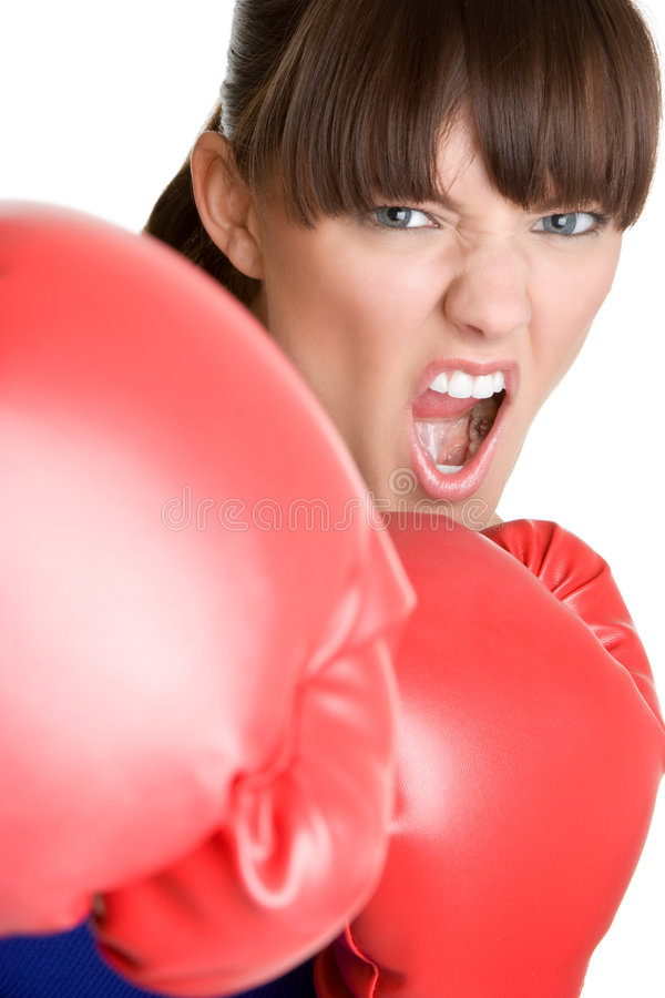 Yelling Boxer. Angry fitness female boxer yelling stock image