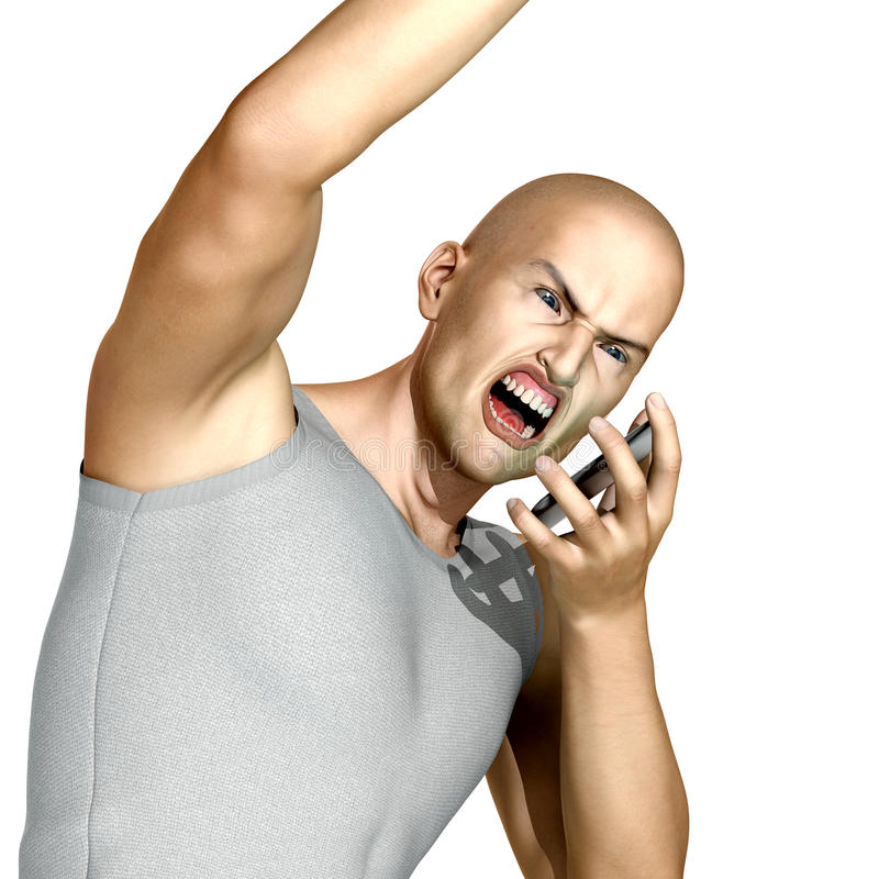 Yelling on cell phone. Young angry man yelling on his cell phone stock illustration