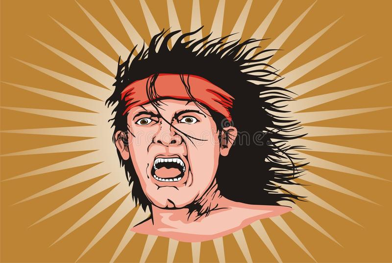 Yelling dude. Vector illustration of yelling dude in supporting stock illustration