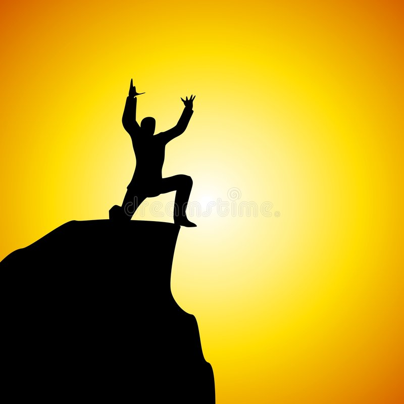 Yelling At God From Mountain. An illustration featuring a frustrated man sitting on top of a mountain ledge as if yelling into the sky either an expression of stock illustration