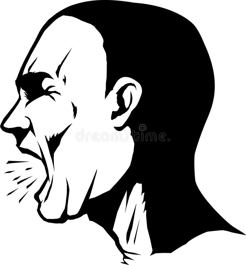 Yelling man. Stylized drawing of the side of a man's face yelling royalty free illustration