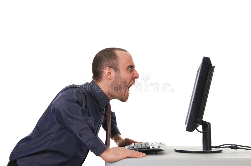 Yelling Man. Yelling business man at the office on white royalty free stock photos