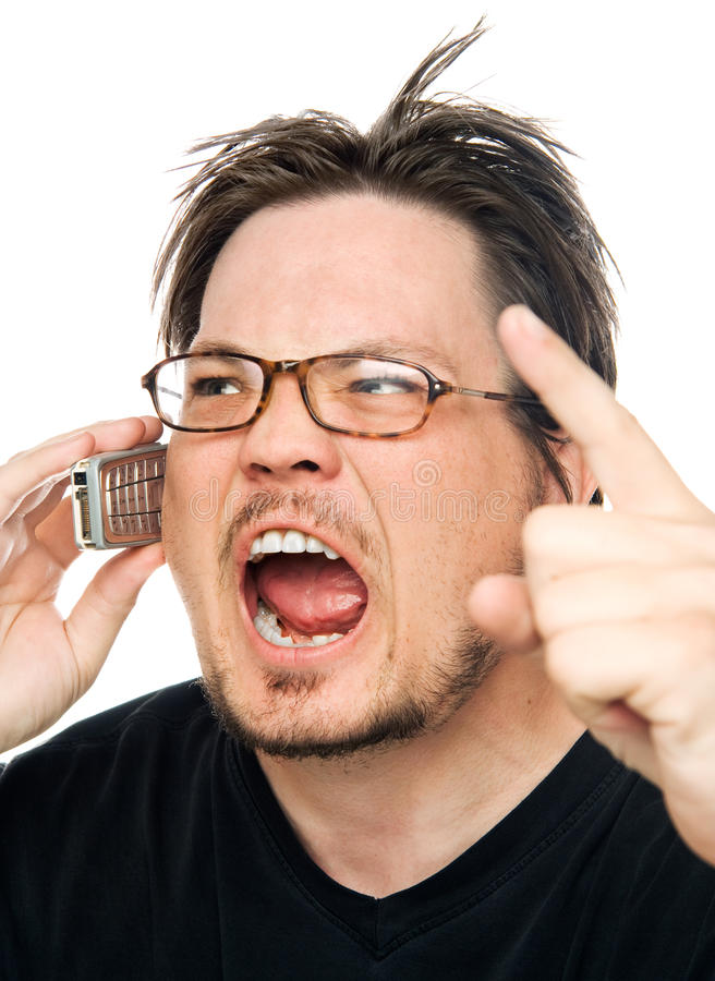 Yelling at the phone royalty free stock images