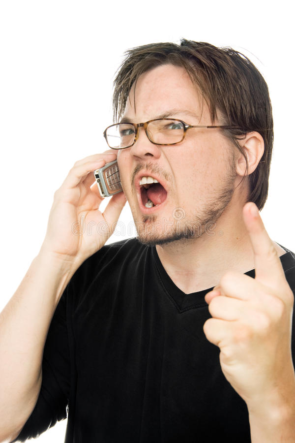 Yelling at the phone stock image