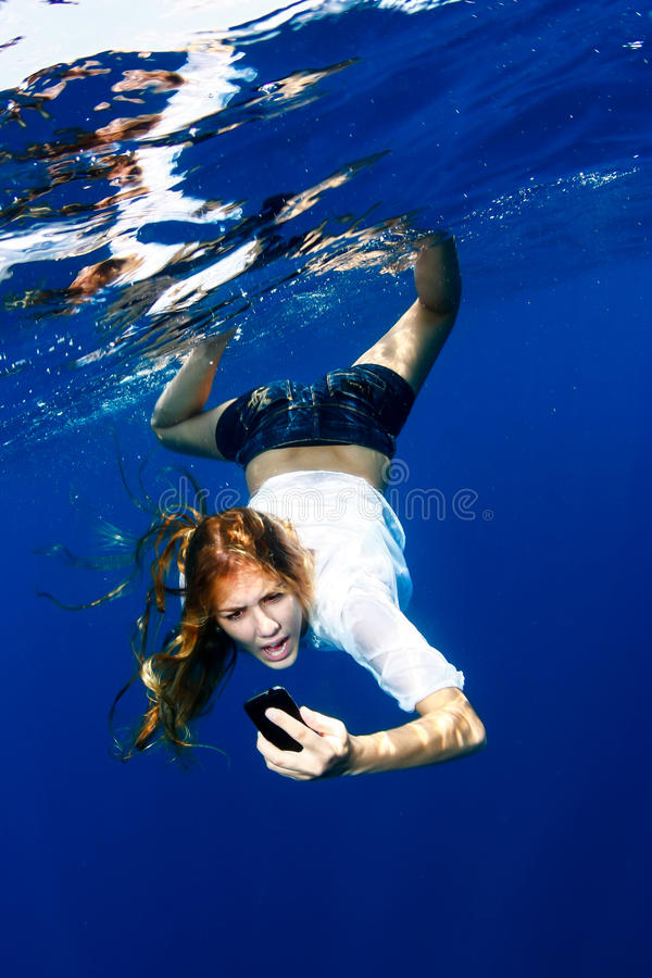 Download Yelling at phone in water stock image. Image of cellphone - 33474639