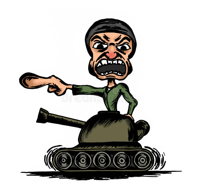 Yelling soldier on the tank. Caricature of yelling soldier on the tank royalty free illustration
