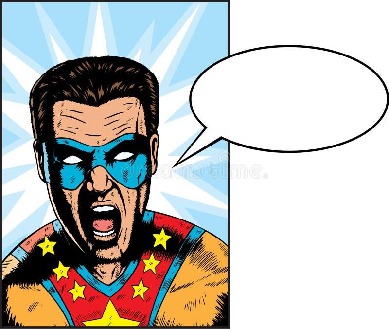 Yelling Superhero. Yelling something. Anything can be put in Balloon royalty free illustration