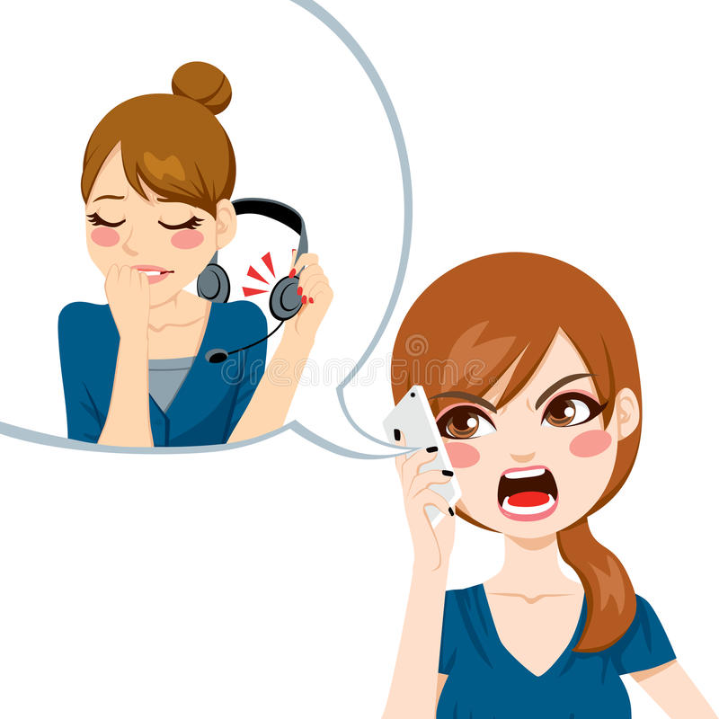 Yelling To Customer Service. Unsatisfied woman using smart phone yelling angry to call center agent for bad customer service assistance vector illustration