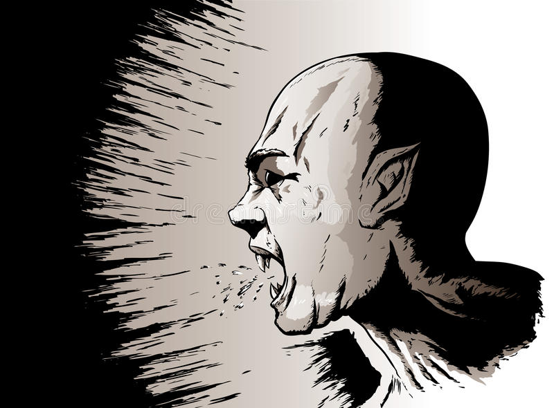 Yelling vampire. Drawing of the side of a vampire's face yelling stock illustration