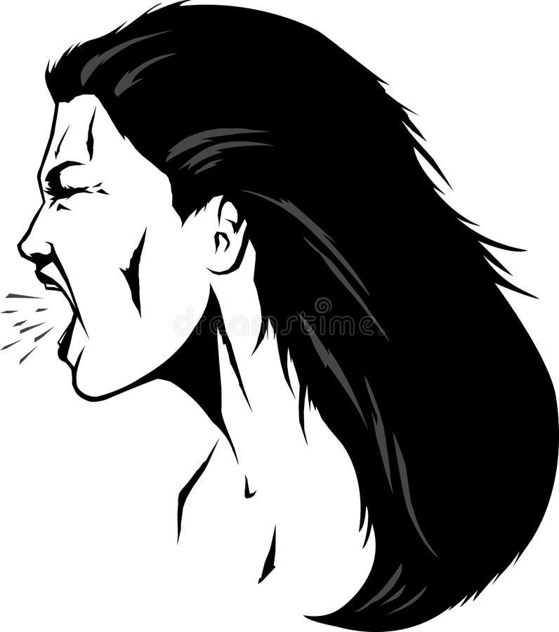 Yelling woman stock illustration
