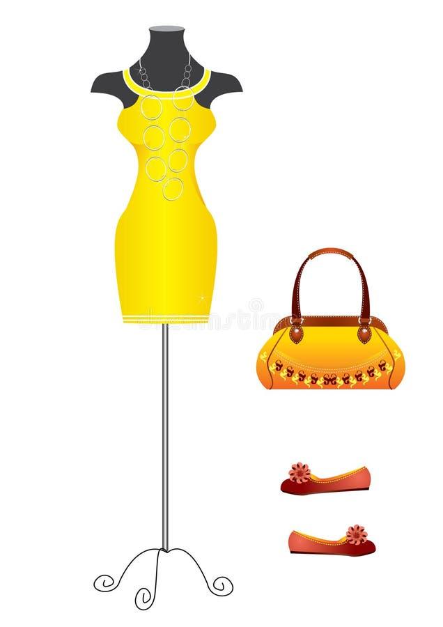 Yello dress.Fashion royalty free stock photos