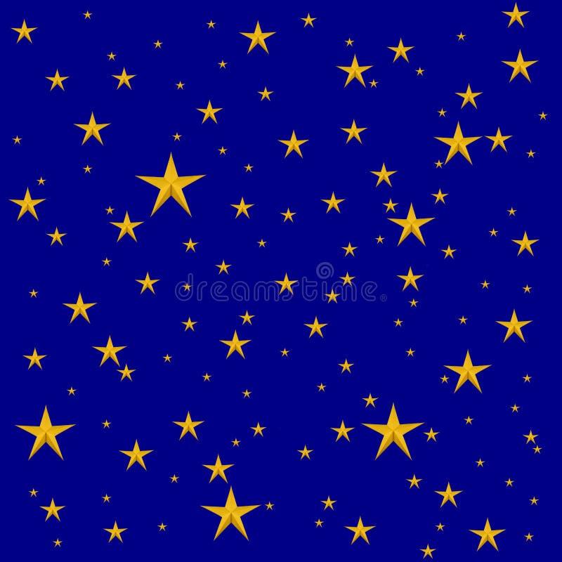 Yellor-Sterne auf dunkelblauem lizenzfreie abbildung