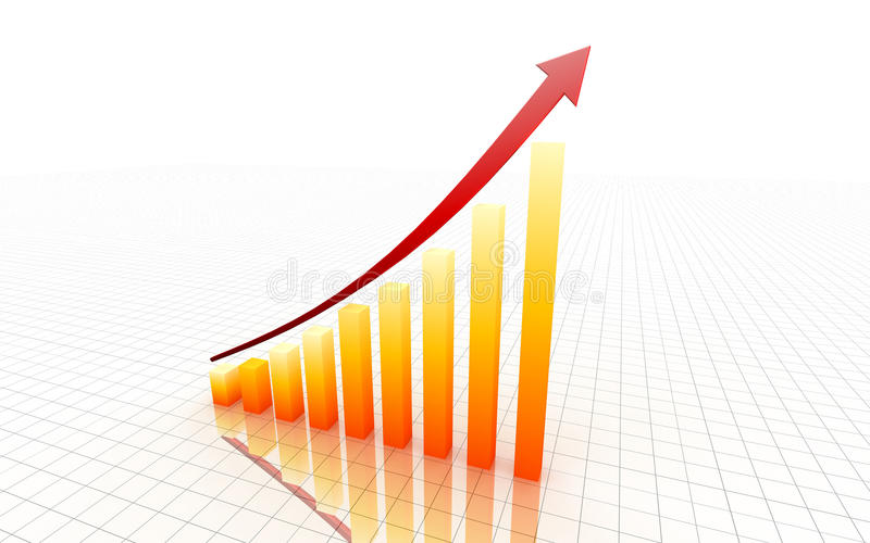 Yellow 3d graph royalty free stock images